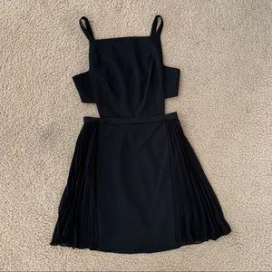 BCBGMaxAzria Black Cutout Pleated Dress